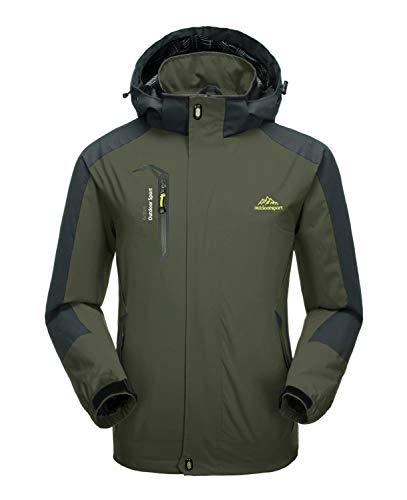 KEFITEVD Veste de camping coupe-vent à capuche pour homme avec poche zippée Vert militaire