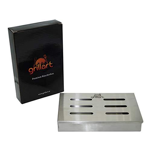 grillart Original BBQ caja de ahumado fabricada 100{e3768095170f106f8941141fd57f7f0971b58309d75645b4e0e17fb88ca14f0f} en acero inoxidable / Ahumador / Aromabox / Accesorios para parrilla de gas, parrilla de caldera y parrilla de carbón / Dimensiones 21 x 13 x 3.5cm