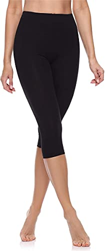 Leggings 3/4 Pantaloni Capri Donna Made in Italy (Nero, 48 XL IT Donna 46 EU)