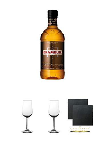 Drambuie Whiskylikör 0,7 Liter + 2 Bugatti Nosing Gläser + 2 Schiefer Glasuntersetzer eckig ca. 9,5 cm Ø