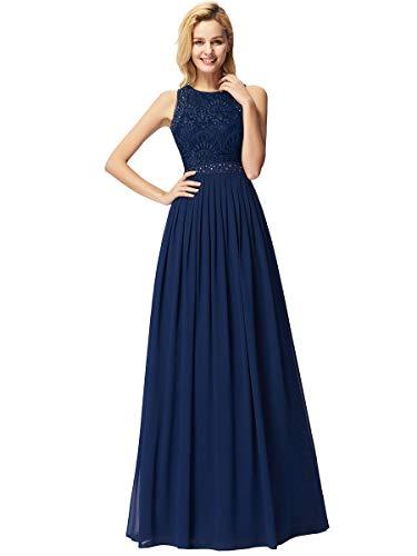Ever-Pretty A-línea Vestito de Gala Cuello Redondo sin Mangas Encaje Gasa para Mujer Azul Marino 36