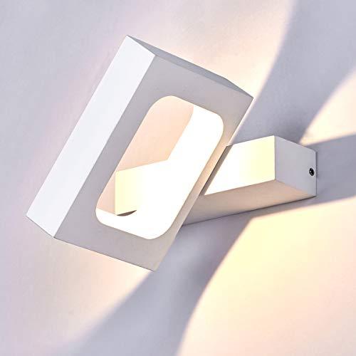 HAOFU 10W LED Apliques de Pared,Lamparas de Pared, Bañador de Pared,Luz Blanco Cálido 3000K, Universal para Decoración de Casa Jardín de Iluminación de Iluminación de Interior,145x130x30mm (Blanco)