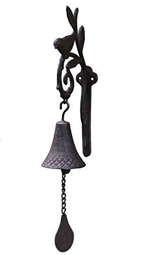dekoo24 Türglocke Gusseisen Wandglocke Gartenglocke Glocke Türklopfer Vogel Landhaus