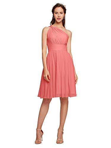 ALICEPUB ONE SHOULDER CHIFFON BRIDERMAID 드레스 여성 파티 홈 커밍을위한 짧은 공식 드레스