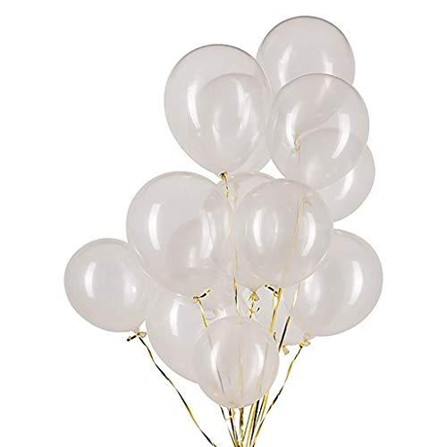 Houstory 50 Stück 12 Zoll Transparent Latex Ballons, transparente Farbe verdickt Luftballons für Geburtstag Sommerfest Hochzeit Schulanfang Kinderparty Pool Party Dekoration.