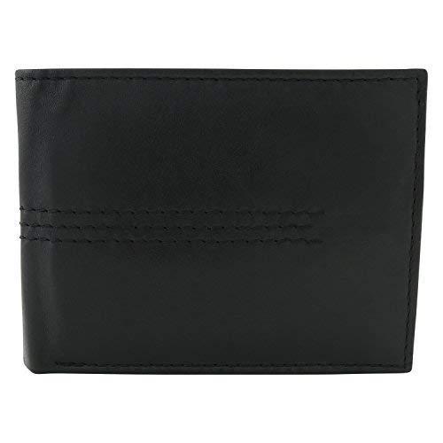 Echt Leder Geldbörse Herren in verschiedenen Farben und Größen (Schwarz)