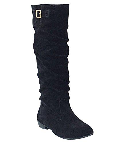 Minetom Damen Herbst Winter Stiefel Winterstiefel Langschaftstiefel Warm Schuhe Blockabsatz Outdoor Schuhe Schwarz EU 44