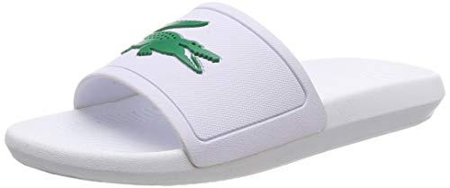 Lacoste Croco Slide 119 1 CMA, Sandalias de Punta Descubierta Hombre, Blanco (White/Green), 42 EU