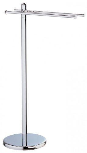 SANWOOD Handtuchständer Mistral, Handtuchhalter mit 2 Armen, Stahl verchromt Edelstahl-Optik, Chrom, 28 x 54 x 54 cm