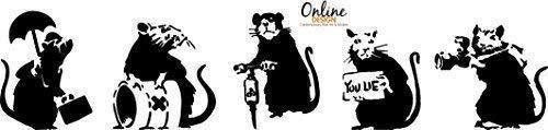 Online Design Banksy Sammlung von Ratten X 5 Graffiti Kunst / Groß Vinyl Wandaufkleber
