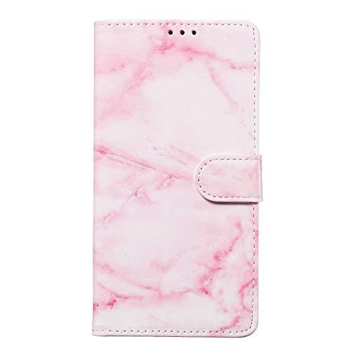 Miagon für Samsung Galaxy Note 8 Marmor Flip Hülle,PU Leder Klapphülle Bookstyle Brieftasche Wallet Ständer Case Cover,Rosa Marmor