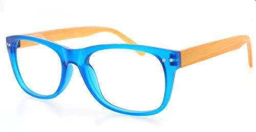 LEMON TREE SL Gafas Lectura Madera y Modernas. Gafas Presbicia PANTONA, Patas imitación Madera, Gafas Vista Cansada, Gafas de Moda 6 Colores y 7 graduaciones. Montura Azul