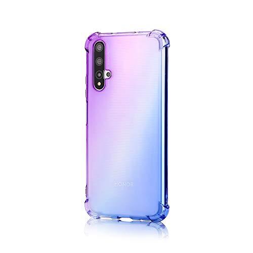 TANYO Hülle Geeignet für Huawei Nova 5T, Superdünn Weich Silikon Farbverlauf TPU Handyhülle, [Vier Ecken Verstärken] Stoßfest Transparent TPU Silikon Hülle Handyhülle. Lila/Blau