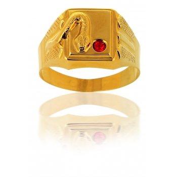 Avenuedubijou - Anello chevalier in oro giallo con zirconia cubica rubino e serpente 18 carati e Oro giallo, 26, cod. aj6300-66
