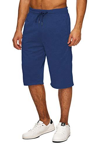 Hidyliu Mens Elastic Waist Drawstring Workout Gym Joggers 3/4 Shorts Summer Casual Sweat Short Pants with Pockets (Royal Blue Workout Shorts, 2XL, xx_l)