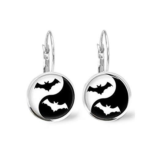 memory Pendientes de murciélago para Halloween, joyería de Ying Yang Ying Yang, Pendientes de Plata y Azulejos de Cristal