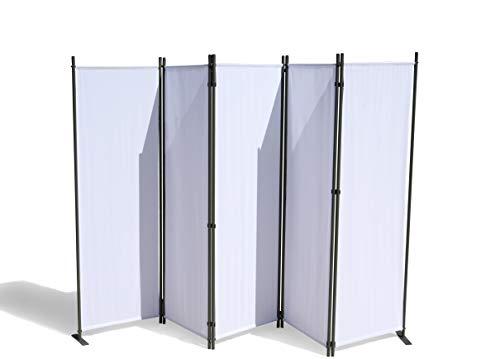 GRASEKAMP Qualität seit 1972 Paravent 5 teilig Weiss 268 x 167 cm Raumteiler Trennwand Sichtschutz