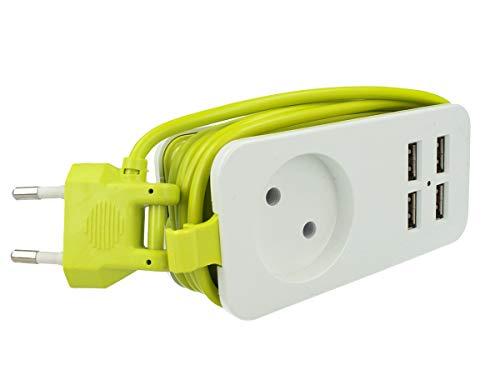Regleta eléctrica cargador 4 puertos USB 5 V 2,4 A Fast Charge 1 lugar 2P 10 A cable 1,5 metros blanco