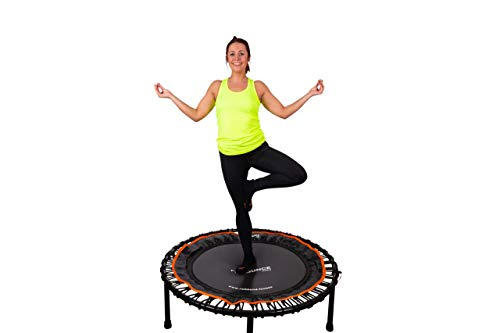 FIT BOUNCE PRO II Bungee Rebounder | Patent Awarded | Half Folding, Silent & Beautifully Engineered Professional Mini Trampoline for Adults & Kids | Includes DVDs, Storage Bag & Bounce Counter | Free Online Workouts