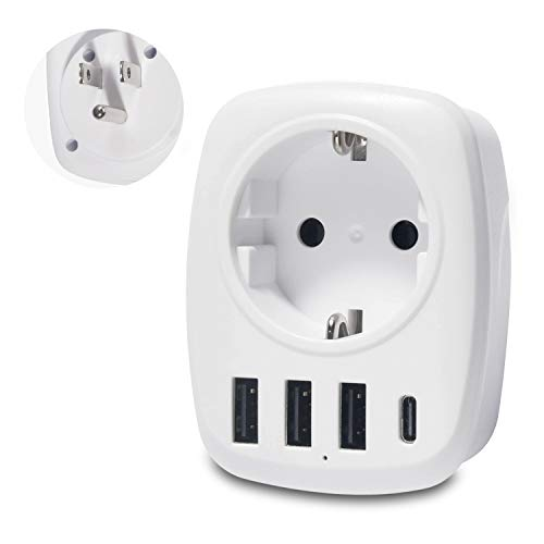 Unidapt Usa Adapter - Reiseadapter Steckdose EU nach US Amerika Stecker mit 3 USB Ports+1 Typ-C Port für Amerika Kanada Mexiko Steckdosen Stromadapter Schukoadapter Weiß