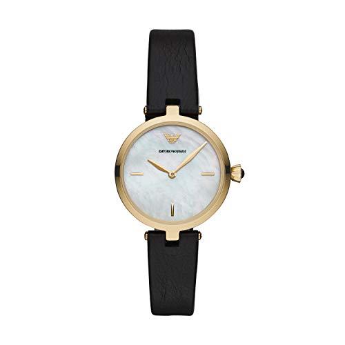 Emporio Armani Damen Analog Quarz Uhr mit Leder Armband AR11200