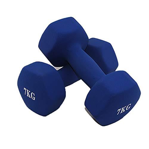 ZZL Mancuerna Aptitud Neopreno Recubierto de Pesas Pesas Set con Rack de Neopreno Peso de la Mano for el Entrenamiento de Fuerza, Entrenamiento de Cuerpo Entero Fitness (Peso : 14KG(7kg*2))