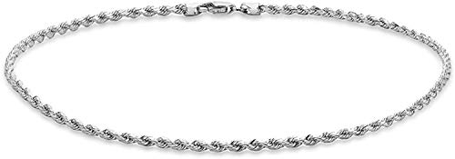 Dubai Collections 14k Fine White Gold Rope Chain Anklets for Women Men Teens and Kids Strong Durable Foot Jewelry Beach Party Plated Work Cute Ankle Bracelet