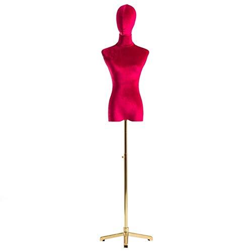 FSFF Maniquí de Sastre Femenino, Busto de exhibición de modistas de maniquí Ajustable en Altura con Base de trípode Dorada para estantes de exhibición de Ropa (Color: Rojo, Tamaño: M)