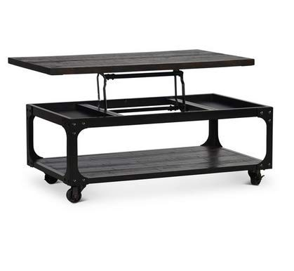 Lift Top Bottom Shelf Coffee Table with Casters in Tobacco
