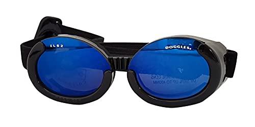 Doggles DGIL-01-XS ILS - Gafas de Sol para Perros, Negro (Shiny Black Frame/Mirror Blue Lens), XS