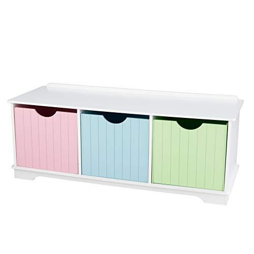 KidKraft 14565 Nantucket Banc de rangement couleurs pastel pour enfant Avec 3 tiroirs/bacs/paniers de rangement Meuble pour chambre d'enfant