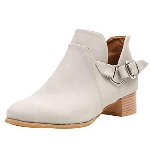 Dorical Damen Kurzschaft Slip On Stiefel/Frauen Damen Stiefeletten Chelsea Boots Übergrößen Flandell/Damenstiefel Outdoor Boots mit Blockabsatz Gr 35-43(Grau,35 EU)