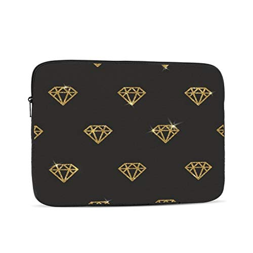 Sequined Gold Diamond Zipper Laptop Sleeve Case Notebook Computer Bag portable Universal Case Sleeve Polyester for 15 Inch