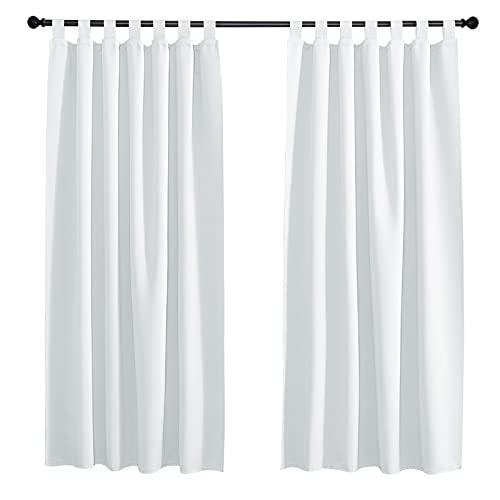 PONY DANCE Vorhang Grau-weiß Blickdicht - 2er Set H 175 x B 140 cm Gardinen für Schlafzimmer/Wohnzimmer Verdunklungsvorhänge mit Schlaufen
