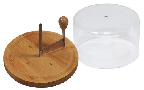 Tagliere in legno di faggio certificato FSC Lama in acciaio INOX antiruggine Con 4 uncini per una maggiore stabilità Campana in acrilico, per una maggiore durata