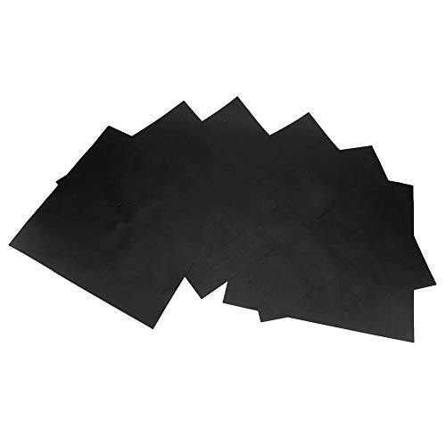 6 piezas almohadilla de estufa de gas reutilizable cocina de gas estera de limpieza protector de superficie con revestimiento antiadherente accesorios de herramientas de cocina prácticos(Negro
