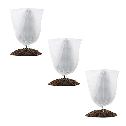GROWNEER 3 Packs Thickened 1.77 oz 70 x 86 Inches Plant Covers Plant Protection Bags Frost Cloth with Drawstring and Zipper, Shrub Jacket Tree Cover for Cold Frost Freeze Bird Insect Prevention, White