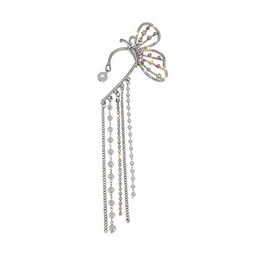 Yoonwi Orecchini pendenti a clip, con nappe lunghe a forma di farfalla, da donna e ragazza, con perle e cristalli