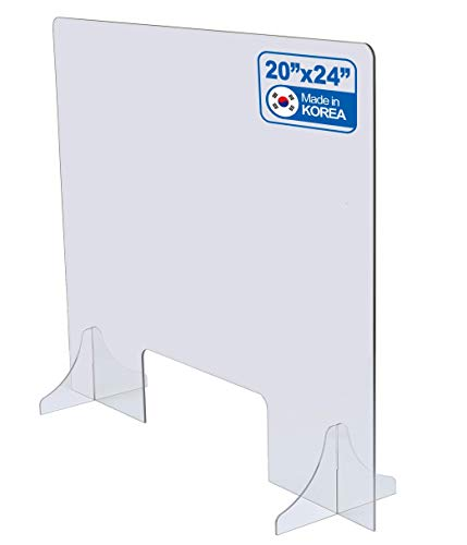 """Shatter-Proof Sneeze Guard 24"""" x 20"""" : Lightweight Polycarbonate Shield with Transaction Window [Made in Korea]"""