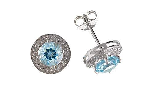 Topacio Azul Pendientes Pendientes con Diamante Plata 10mm Auténtico Topacio Azul&Diamante Dormilonas