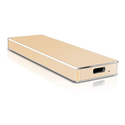 Disque Dur Externe Slim, Disque Dur Externe USB3.1 / Type C, adapté pour Mac, PC, Windows, MacBook, Xbox One (1to,Or)