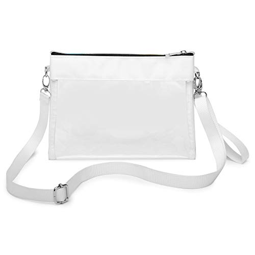 Clear Purse, Packism Clear Bag Stadium Approved NFL, BTS Concert, Colorful Zipper Clear Cross body Bag Transparent Purse Handbag for Women, White