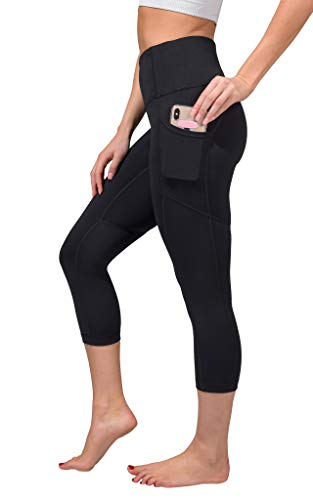 Yogalicious High Waist Squat Proof Yoga Capri Leggings with Pockets for Women - Black Lux with Pocket - Small