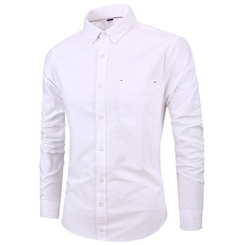 GSS-CY Camicia da Uomo a Manica Lunga in Cotone da Uomo Oxford White XXXL