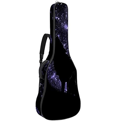 Bolsa para guitarra con diseño de lobo aullado, color morado y estrellado,...