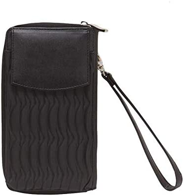 Wristlet Travel Phone Wallet Black Solid Synthetic Leather
