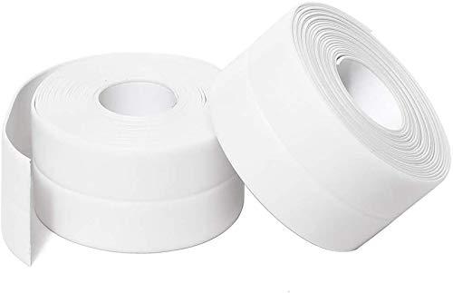 コーキングテープPVC自己接着ストリップバスタブバスルームシャワートイレキッチンおよび壁のシーリング11フィートの長さ (38 mm 2パック、白)