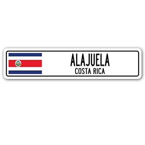 Cartel de Calle de Alajuela Costa Rica con Bandera de Tico d