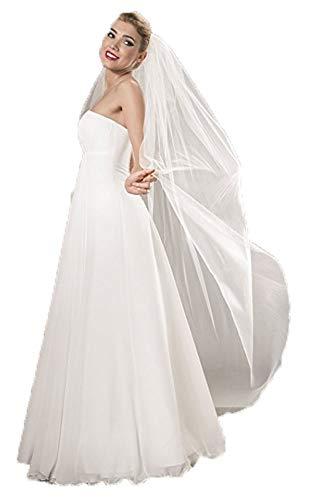 Unbekannt Schleier Brautschleier 170 cm lang Kamm Braut Kurbelkante FEIN Tüll Kapelle Kathedrale Feintüll Soft (Ivory/Elfenbein)