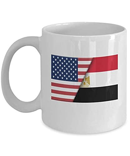 N\A EE. UU, Egipto, Bandera egipcia, Taza de café Blanco de 11 oz, Regalo de Doble Ciudadano para inmigrantes